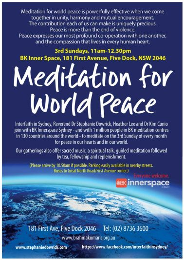 Meditate for world (and personal) peace each 3rd Sunday ...