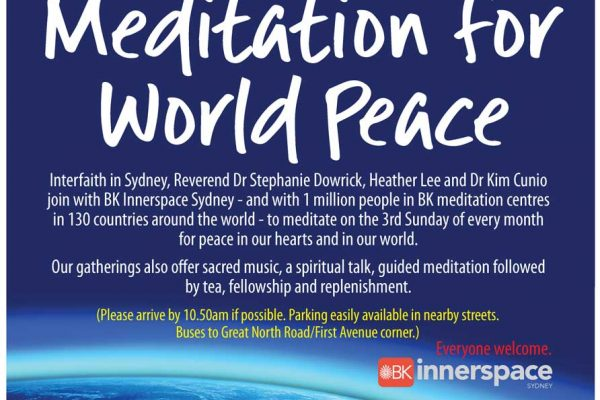 Meditate for world (and personal) peace each 3rd Sunday 11am